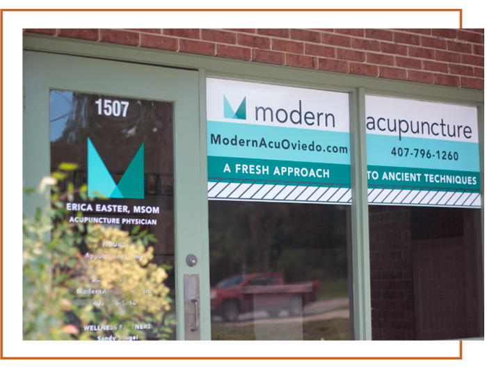 front window of the modern acupuncture clinic in oviedo, florida